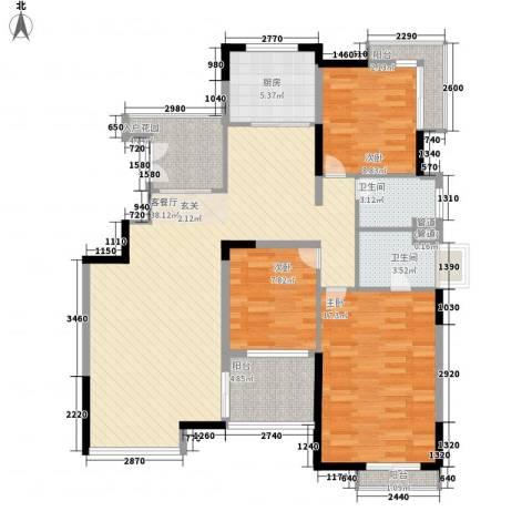 恒大雅苑3室1厅2卫1厨138.00㎡户型图