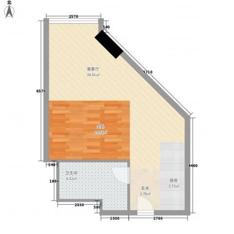 万菱君临国际公寓1厅1卫0厨59.00㎡户型图
