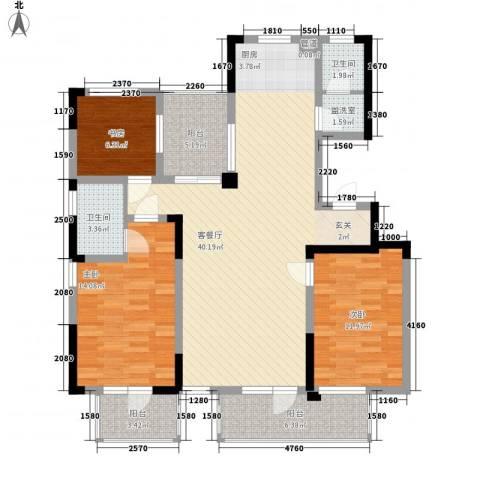 博林金谷四期3室1厅2卫0厨136.00㎡户型图