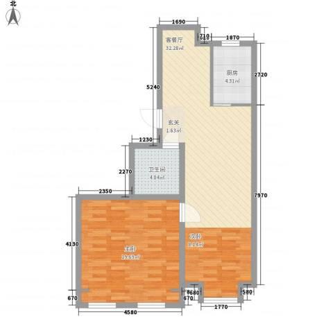 杨家滩花园1室1厅1卫1厨85.00㎡户型图