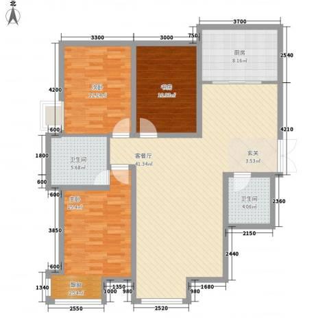 国奥现代城二期3室1厅2卫1厨157.00㎡户型图