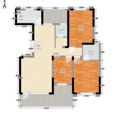 博林金谷四期3室1厅2卫1厨138.00㎡户型图