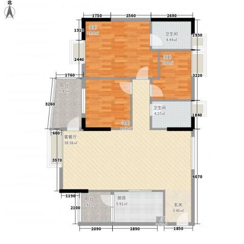 盛和新都会.3室1厅2卫1厨119.00㎡户型图