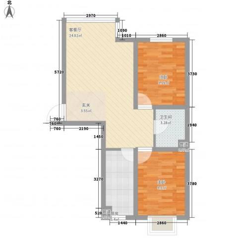 鑫丰华凯鑫城2室1厅1卫1厨74.00㎡户型图