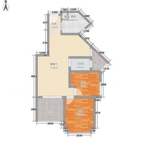 永鸿厦门湾1号2室1厅1卫1厨73.00㎡户型图