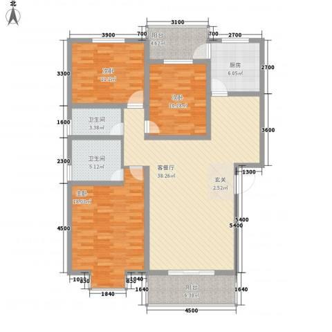 念四新村3室1厅2卫1厨147.00㎡户型图