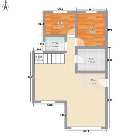 黄金海岸2室1厅1卫1厨156.00㎡户型图