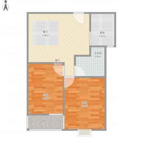 百家湖花园伦敦城2室1厅1卫1厨61.00㎡户型图