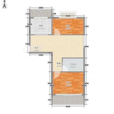 欣园小区2室1厅1卫1厨83.00㎡户型图