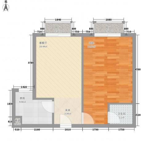 谢岗山水花城1室1厅1卫1厨62.00㎡户型图
