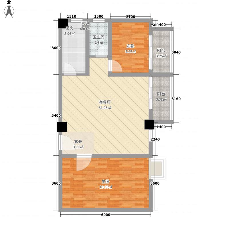 鑫桂佳苑1b户型2室2厅1卫1厨