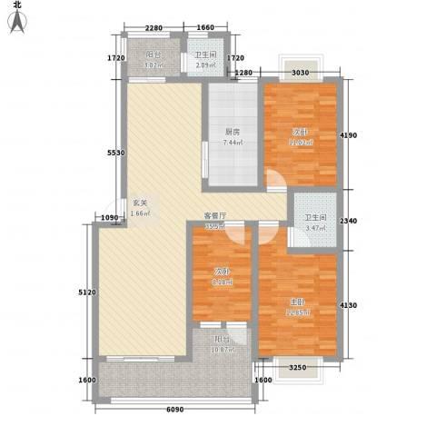 龙城国际3室1厅2卫1厨138.00㎡户型图