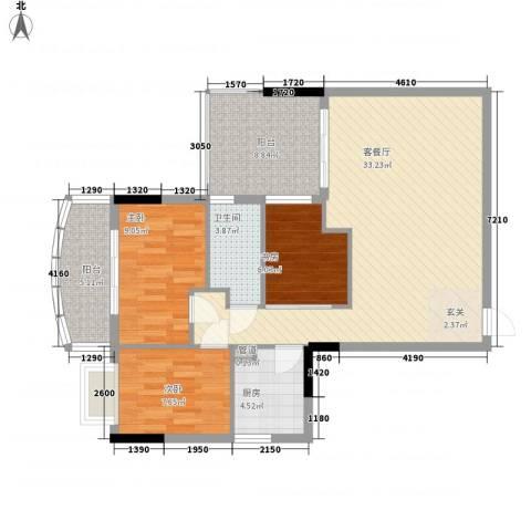 康盛华庭3室1厅1卫1厨95.00㎡户型图