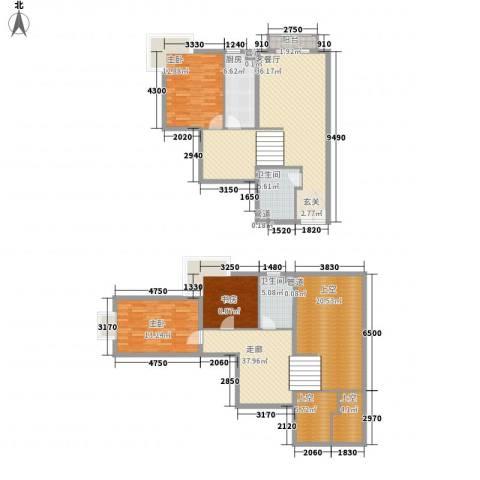 阳光山庄3室1厅2卫1厨156.11㎡户型图