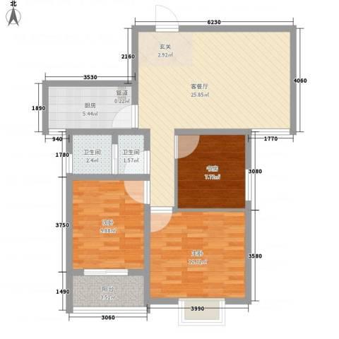 银屏花园3室1厅2卫1厨100.00㎡户型图