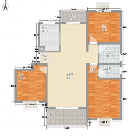 文鹤翠园3室1厅2卫1厨146.00㎡户型图