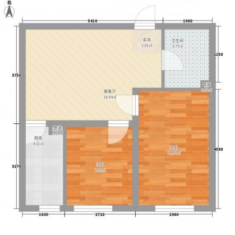 冠芳园二期2室1厅1卫1厨51.26㎡户型图