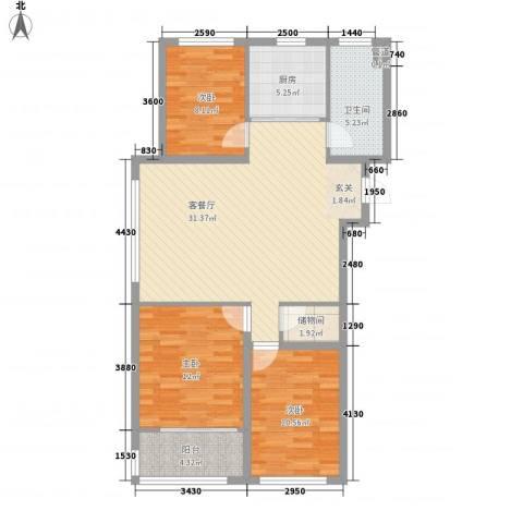 富氏壹号公馆3室1厅1卫1厨112.00㎡户型图
