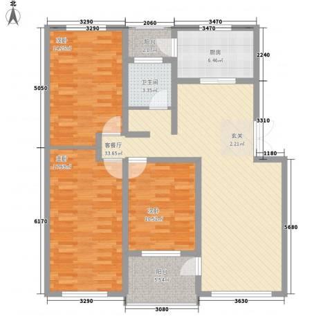 豪苑华庭3室1厅1卫1厨100.00㎡户型图