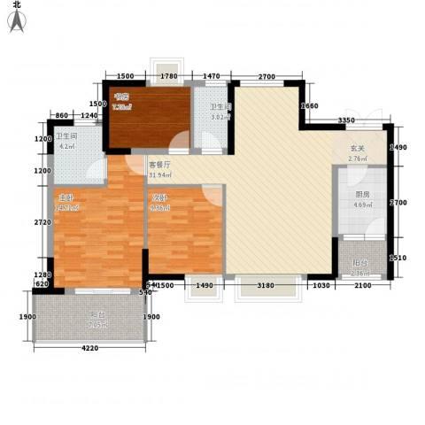 鲁能星城一街区3室1厅2卫1厨84.61㎡户型图