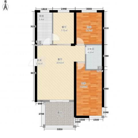 光明 学府世家2室2厅1卫1厨74.82㎡户型图