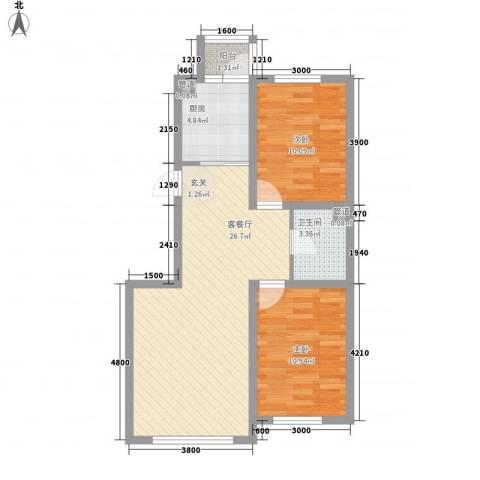 硅谷印象2室1厅1卫1厨83.00㎡户型图