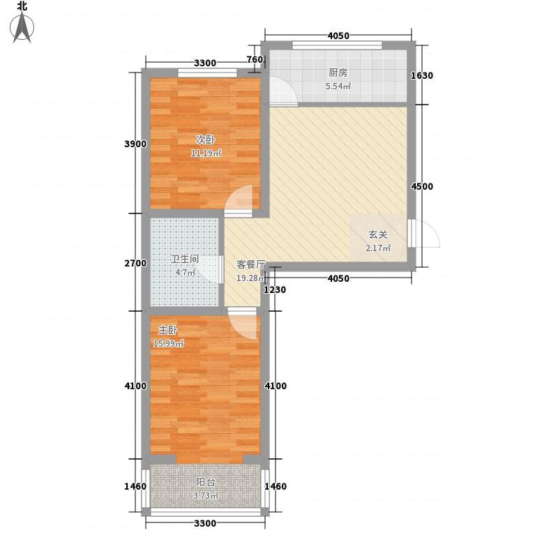 博雅小镇62.50㎡B户型2室1厅1卫1厨