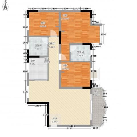 大朗政府宿舍3室1厅2卫1厨170.00㎡户型图