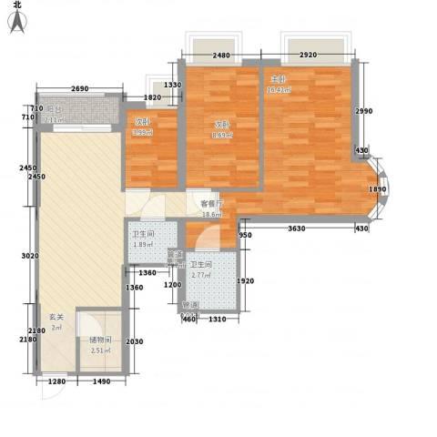 华景大厦3室1厅2卫0厨82.00㎡户型图