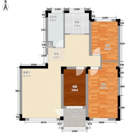 永畅美域3室1厅1卫1厨110.00㎡户型图