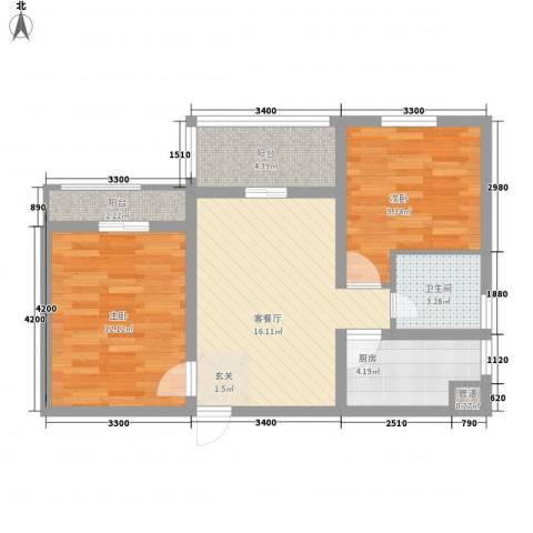 永新苑・西区2室1厅1卫1厨80.00㎡户型图