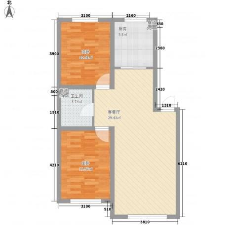硅谷印象2室1厅1卫1厨87.00㎡户型图