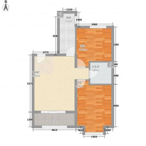 京汉・君庭2室1厅1卫1厨67.36㎡户型图