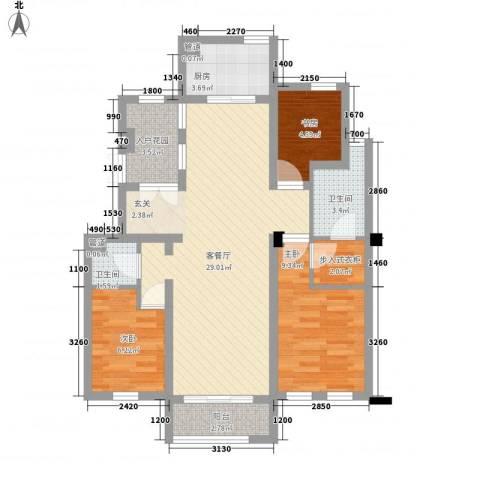 审计厅秀冶里单位宿舍3室1厅2卫1厨98.00㎡户型图