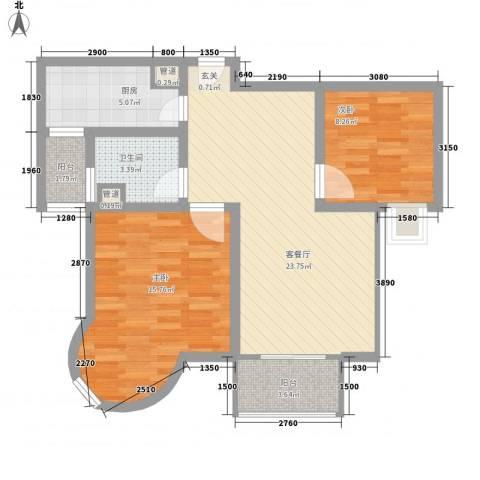 凯尔枫尚2室1厅1卫1厨90.00㎡户型图