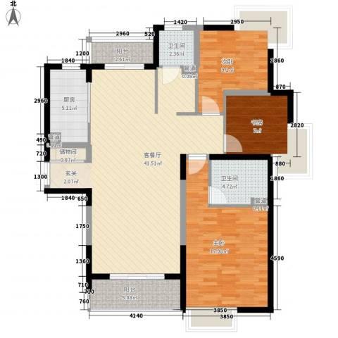 金枫苑阳光水岸3室1厅2卫1厨138.00㎡户型图