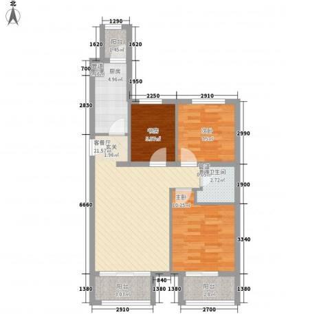 京汉・君庭3室1厅1卫1厨70.40㎡户型图