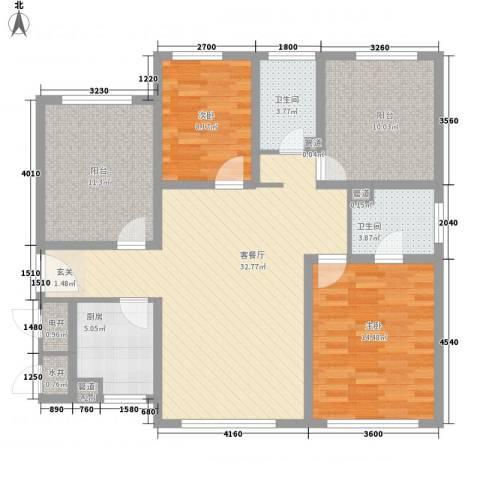 松泉社区2室1厅2卫1厨132.00㎡户型图
