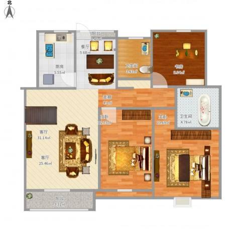 杨柳国际新城3室1厅2卫1厨114.00㎡户型图