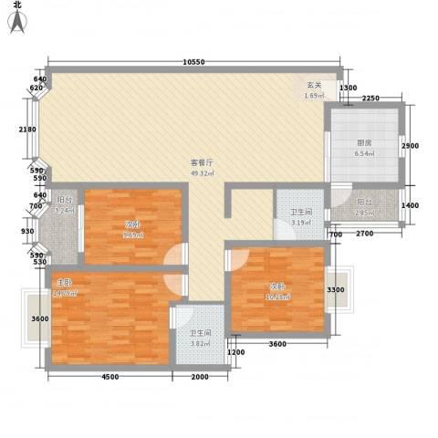 聚龙苑3室1厅2卫1厨148.00㎡户型图