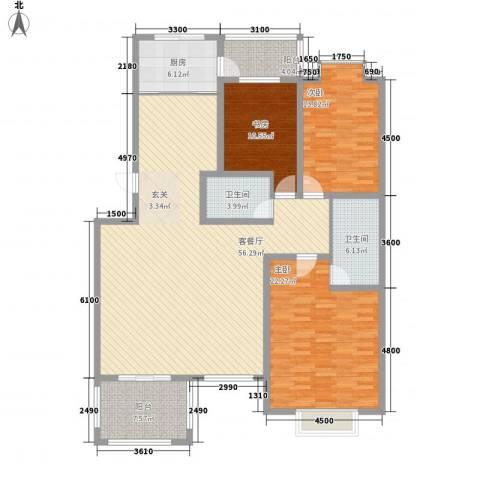 燕莎玫瑰园3室1厅2卫1厨184.00㎡户型图