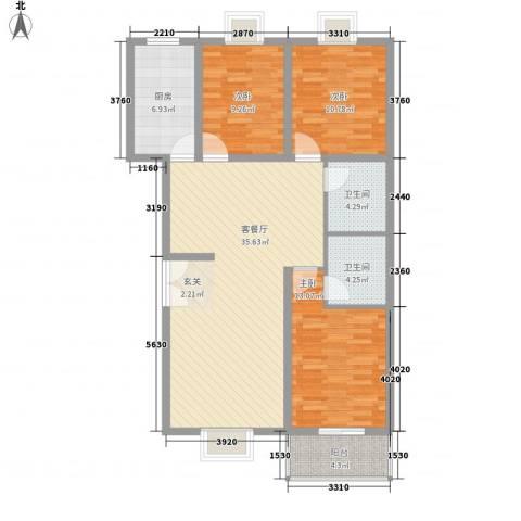 鑫四海花园3室1厅2卫1厨125.00㎡户型图