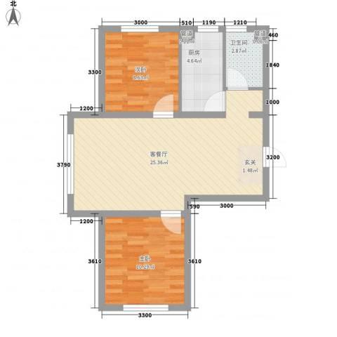 硅谷印象2室1厅1卫1厨74.00㎡户型图