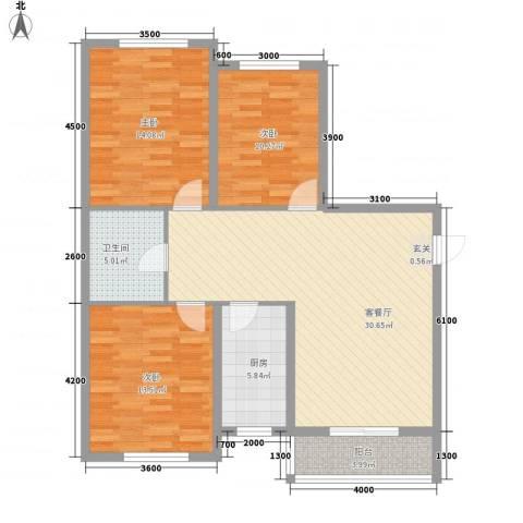 盛秦福地3室1厅1卫1厨93.71㎡户型图