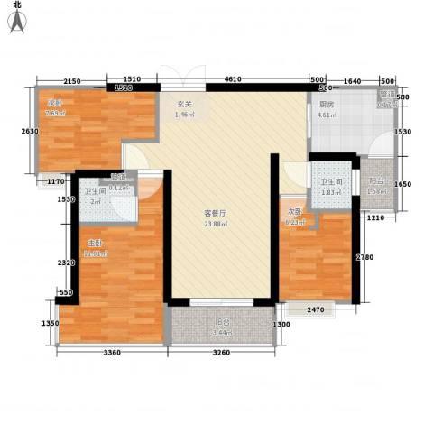 广发花园3室1厅2卫1厨90.00㎡户型图