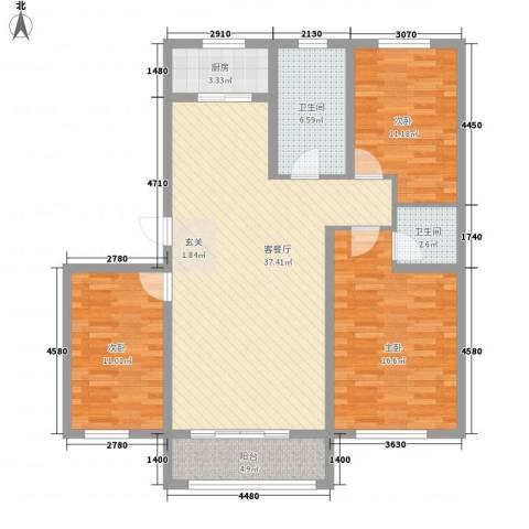 凤凰城3室1厅2卫1厨126.00㎡户型图