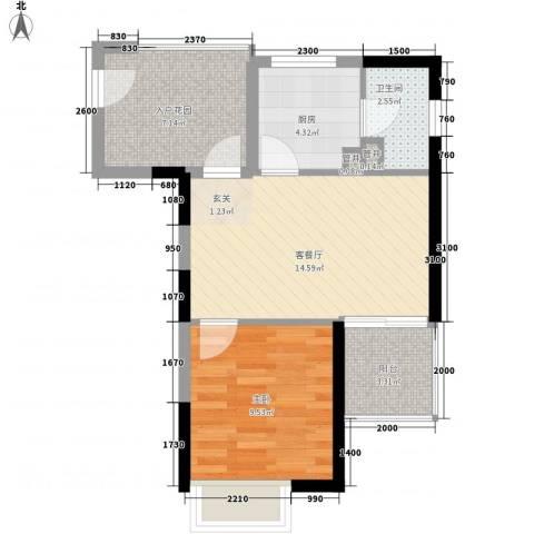 星河传说迪纳公寓1室1厅1卫1厨45.00㎡户型图