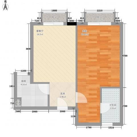 谢岗山水花城1室1厅1卫1厨58.00㎡户型图