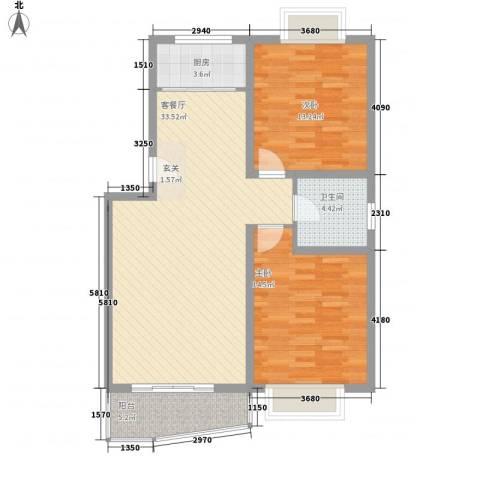 鼎舜赵苑2室1厅1卫1厨105.00㎡户型图