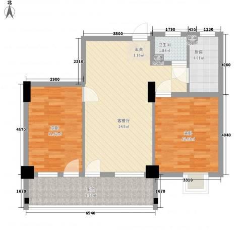 房建大厦2室1厅1卫1厨91.00㎡户型图